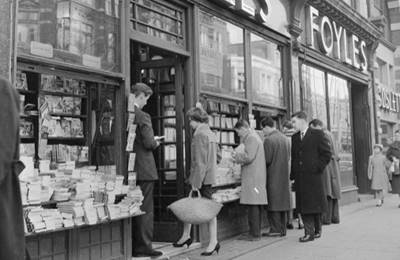 Photograph outside Foyles in the 1950s