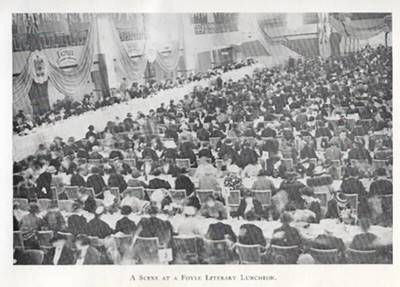 Photograph of Foyles Literary Luncheons showing a very large crowd of people sitting and eating at tables.