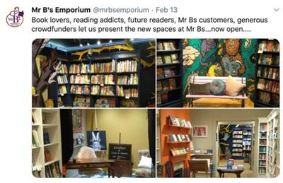 !Mr B's Emporium Crowdfunding Message: Book lovers, reading addicts, future readers, Mr Bs customers, generous crowdfunders let us prestn the new spaces at Br Bs...now open...